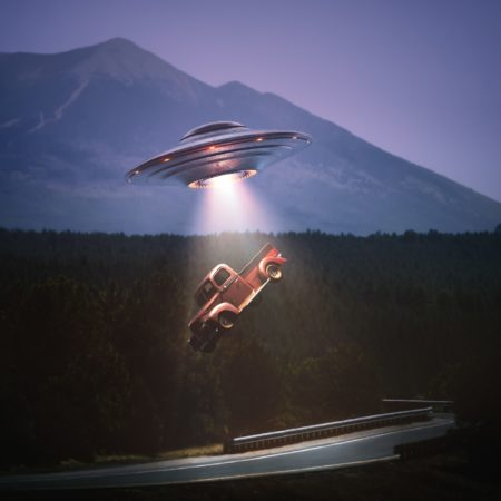 Unidentified Flying Object Alien Abduction Clipping Path